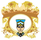 Vintage frame with Egyptian queen Royalty Free Stock Image