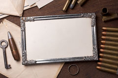 Vintage frame and element of the war Royalty Free Stock Photography