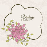 Vintage frame with floral decoration. Stock Photo