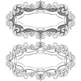 Vintage frame with floral ornament label, vector Stock Images
