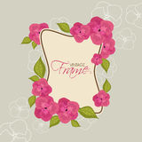 Vintage frame with flower decoration. Stock Photos