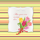 Vintage frame with flower tulip bouquet. Royalty Free Stock Photos