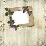 Vintage Frame with Flowers Stock Image