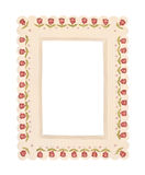 Vintage Frame With Flowers. Retro wooden frame with red flowers. Isolated on white Stock Photography