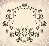 Vintage frame with flowers and butterfly Stock Photo