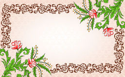 Vintage frame with flowers and decor Royalty Free Stock Image