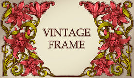 Vintage frame with flowers. Royalty Free Stock Photography