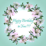 Vintage frame of flowers. With text Happy Birthday to You Stock Images