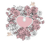 Vintage frame  in form of  heart,  with floral background . Royalty Free Stock Photos