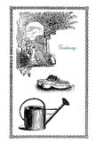 Vintage frame about gardening, tools, watering can and garden cl Stock Photo