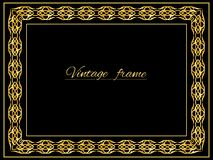 Vintage frame. Vintage gold background, vector antique frame on black vector illustration
