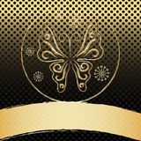Vintage frame with gold butterfly Royalty Free Stock Images