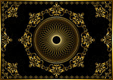 Vintage frame with gold luxury ornament on black background Stock Images