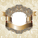 Vintage frame with gold ribbon Stock Images
