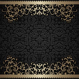 Vintage frame with gold swirly borders Stock Image
