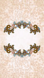 Vintage frame on grange beige background decorated swirls and le Royalty Free Stock Images