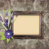 Vintage frame on grange roses background Stock Photography