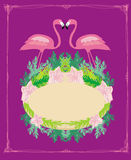 Vintage frame - green palms and pink flamingo Stock Images
