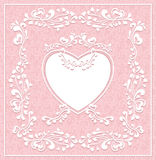 Vintage frame with heart on seamless pattern Stock Photos