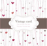 Vintage frame with hearts. Card Royalty Free Stock Photo