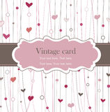 Vintage frame with hearts stock illustration