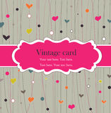 Vintage frame with hearts. Bright card Royalty Free Stock Images