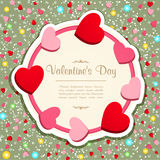 Vintage frame with hearts stock image