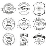 Vintage frame with Honey label set template Royalty Free Stock Photos
