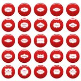 Vintage frame icons set vetor red. Vintage frame icons set. Simple illustration of 25 vintage frame vector icons red isolated Royalty Free Stock Images