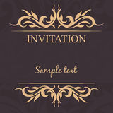 Vintage frame. Invitation card.Gold tracery on a dark background Stock Images