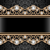 Vintage frame with jewelry gold borders. Vintage gold ornamental background, jewelry frame with filigree diamond borders Stock Illustration