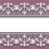Vintage frame with jewelry silver borders. Vintage jewelry background, elegant silver frame with jewellery endless borders Royalty Free Illustration