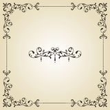 Vintage Frame and Label. Vintage floral frame and retor royal label on gradient background Royalty Free Stock Photos