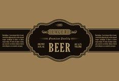 Vintage frame label. Gold sticker bottle beer Stock Images