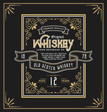 Vintage frame label for whiskey and beverage product Stock Photos