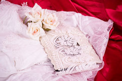 Vintage frame and lace with flowers Royalty Free Stock Photography