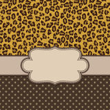 Vintage  frame with leopard texture Stock Image