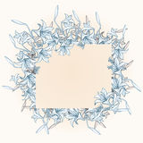 Vintage frame with lily and butterflies. Royalty Free Stock Image
