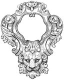 Vintage frame & lion head Royalty Free Stock Images