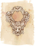 Vintage frame & lion head Stock Photo