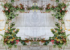 Vintage frame made from flowers, leaves Royalty Free Stock Photos