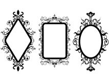Vintage frame mirror. Isolated 3 different shpes of vintage frame mirror on white background Stock Photos