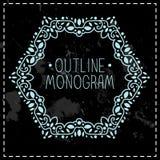 Vintage frame mono line Royalty Free Stock Image