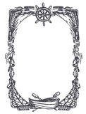 Vintage frame. Nautical and marine theme engraved frame Royalty Free Stock Images