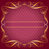 Vintage_Frame op donkere roze Achtergrond Stock Illustratie