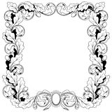 Vintage frame ornament from oak branches with Royalty Free Stock Photo