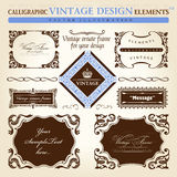 Vintage frame ornament set. Vector element decor