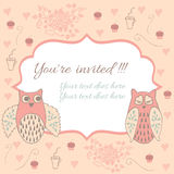 Vintage frame with owl and heart Stock Image