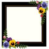 Vintage Frame, Pansies and Rosebuds Royalty Free Stock Photo