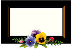 Vintage Frame with Pansies & Rosebuds Stock Photo